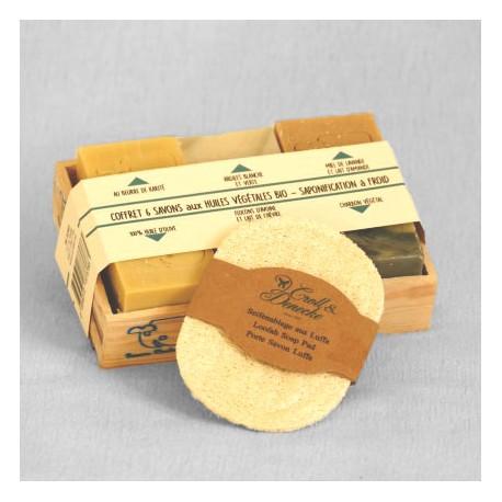 Coffret bois naturel 6 savons moyens et un porte-savon
